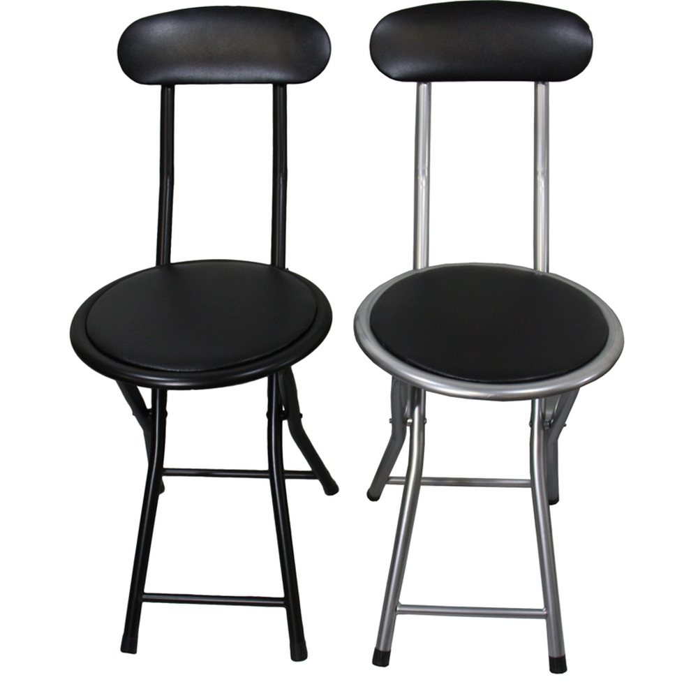 Metal Folding Bar Chair Black