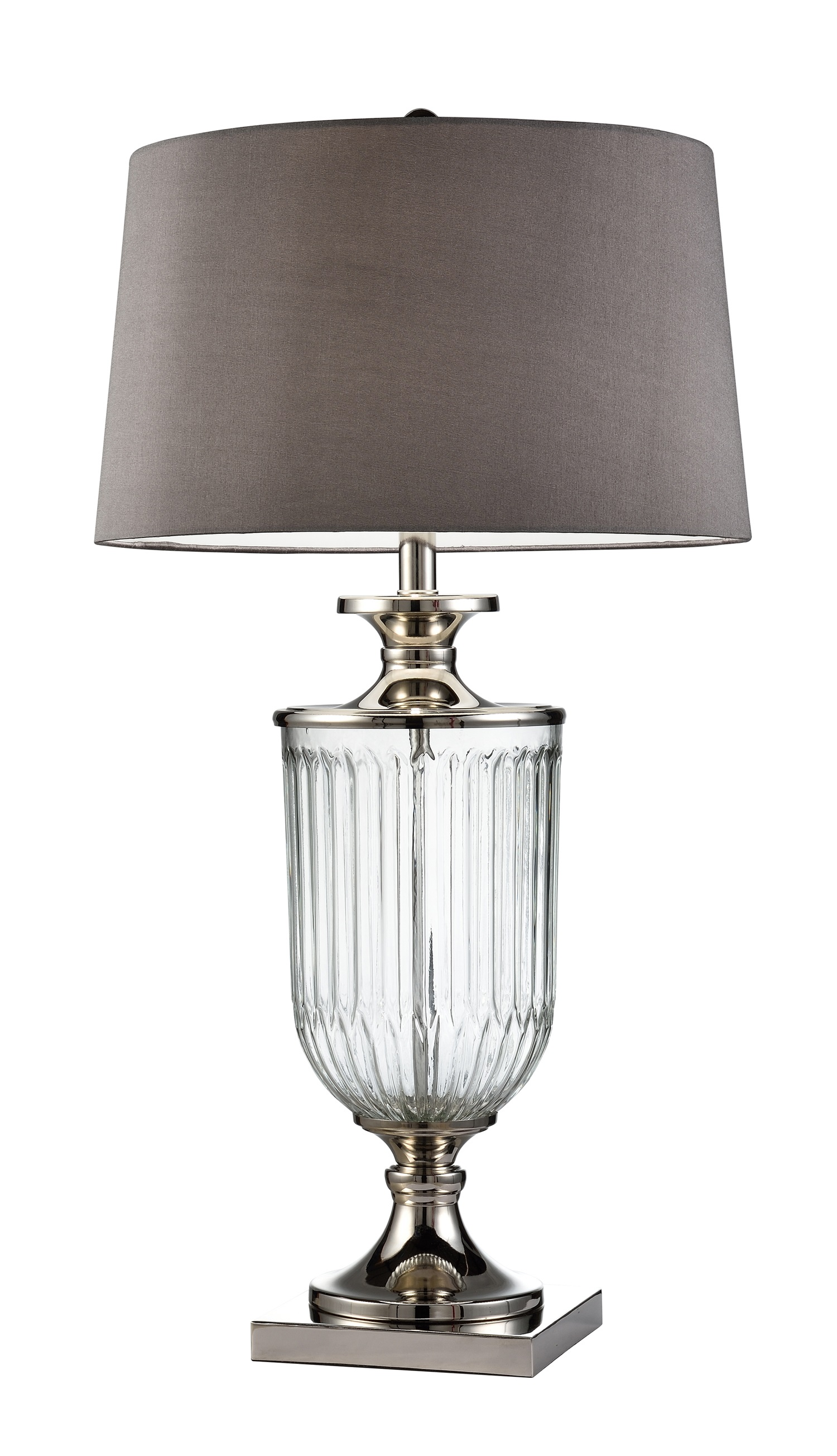 32 5 Tall Glass Table Lamp Amelia With Clear Glass Finish Grey