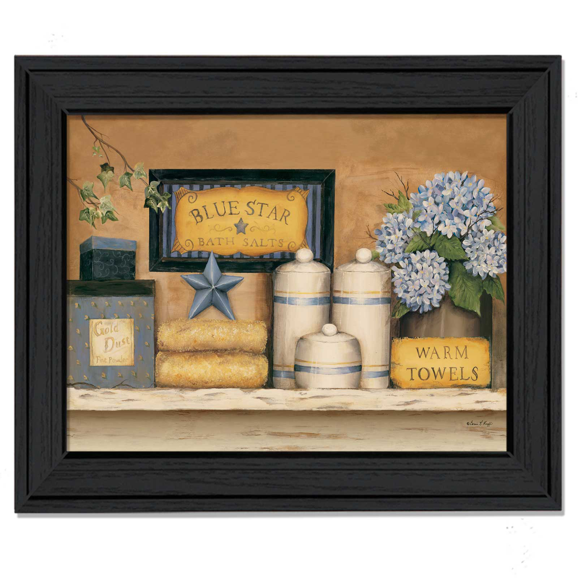 Warm Towels  by Carrie Knoff Printed Framed Wall Art