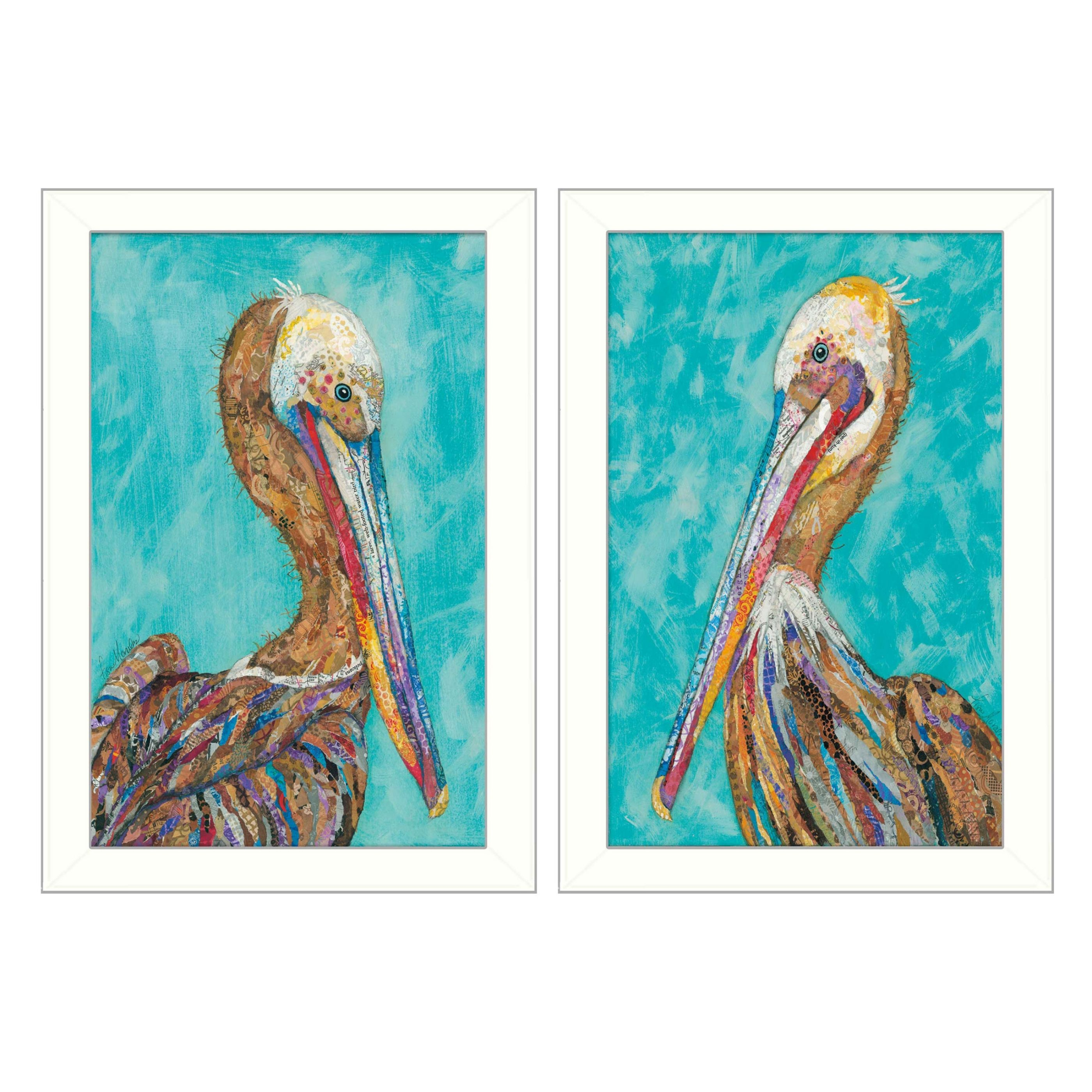 Pelicans  Collection By Lisa Morales, Printed Wall Art, Ready To Hang Framed...